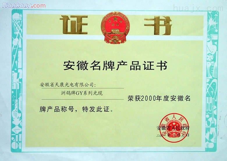 """""""洲鸽""""牌GY系列光缆被安徽省人民政府授予2000年安徽省名牌产品称号"""